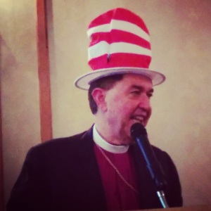 Even at Convention, Bishop Bill was game for whatever we asked him to do...