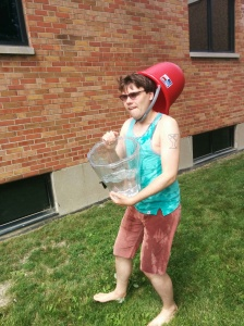 Chris, the coordinator from NJ, determined to win the water war against his teens. (Chiefly by stealing their buckets and wearing them as a hat.)